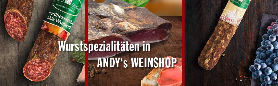 Wurstspezialitäten bei Andys-Weinshop